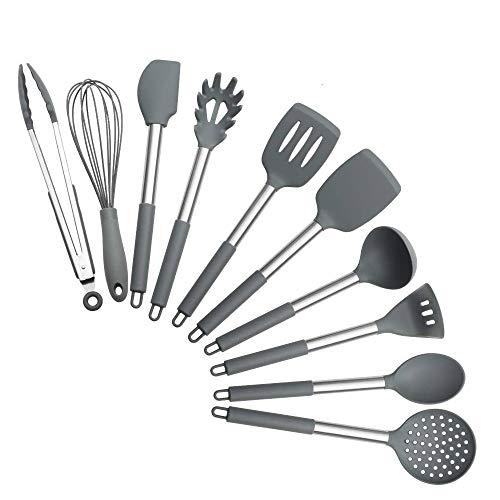 Kitchen Utensil Set - 10 Silicone Cooking Utensils - Stainless Steel Silicone Kitchen Utensils Set,BPA-Free Silicone Stainless Steel Handle Cooking Tools Whisk Kitchen Tools Set - Grey