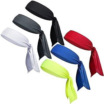 6 Pack Head Tie Headbands for Men Tennis Karate & Ninja Headbands Athletic Sweatbands for Men Women