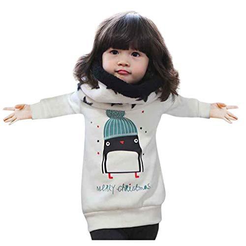Hui.Hui Sweat-Shirt Enfant à Manches Longues Noël Sweatshirt à Capuchon avec Un Animal de Dessin Animé Hauts T-Shirt Blouse pour Bébé Cadeau
