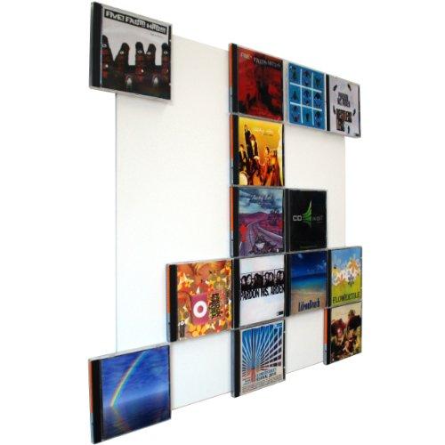CD-Wall CD-Regal/Farbige Design CD-Wand/CD Wanddisplay/CD Wandregal/CD Wandhalter/CD Halter Square 5x5 Farbe: signalweiß für 25CDs zur sichtbaren Präsentation Ihrer Lieblings Cover an der Wand