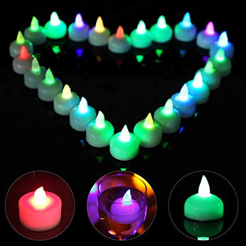 Xiangmall 24 Pack Submersible Led Tea Lights Waterproof Battery Tea Lights Candles Realistic Flameless Candles Colour Changing for Decoration Wedding Christmas Halloween Party Bar (Colorful)