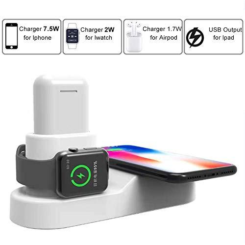 FACEVER 36W 3 en 1 Estación de Carga Inalámbrica Qi, Cargador rápido inalámbrico para Apple Watch Series 5,4,3,2,1, AirPods 2/1, iPhone Se 2020/11/Pro Max/XS/XR/X/8, Samsung S10 Plus/S9/Note10 -Blanco