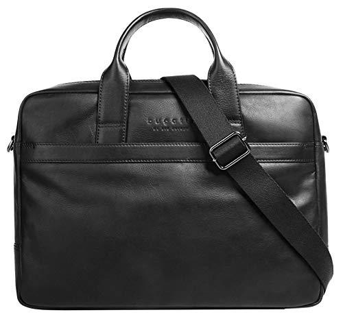Bugatti Corso Leder Businesstasche für Damen und Herren mit 15' Laptopfach, Arbeitstasche Aktentasche Große Bürotasche, Schwarz