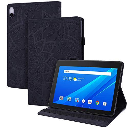 WHWOLF Suitable for Lenovo Tab E10 (TB-X104F) Case Tablet Wallet Cover Flip Shockproof with Stand MultiFunction -black