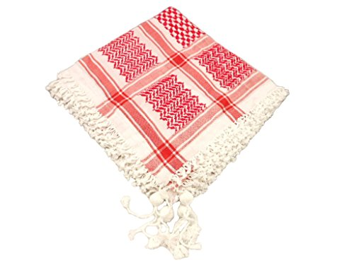 Cotton Unisex Red Black Arabian Scarf Wrap Traditional Desert Tactical Shemagh Fashion Shawl Palestine Hatta (Red)