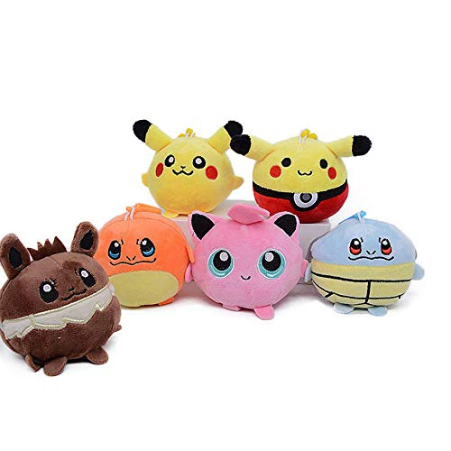 LAIM 7Pcs /Pokemon Plush Stuffed Animal Toy Jigglypuff Eevee Pikachu Charizard Soft Plush Doll Toy Pendant Sandbag for Gift 10Cm,Children's Birthday Gifts and Collectibles laimi