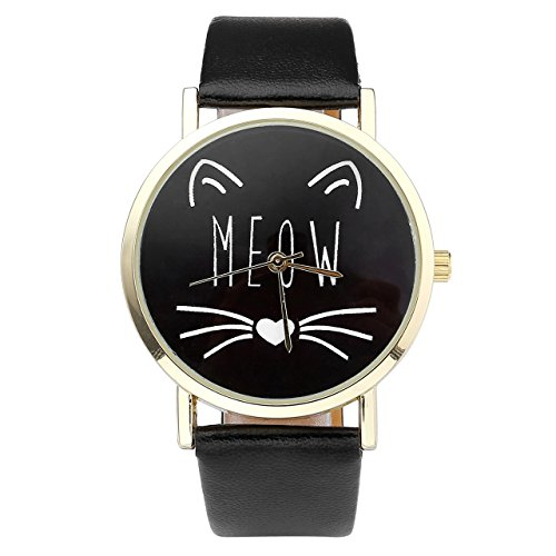 JSDDE Uhren Vintage Damenuhr Cute Katze Meow Zifferblatt Armbanduhr Lederband Analoge Quarzuhr Lässig Armbanduhr für Frauen Mädchen (Schwarz)