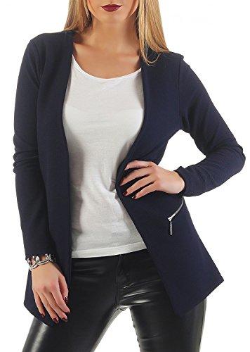 Damen lang Blazer mit Taschen (501), Farbe:Dunkelblau, Blazer 1:44 / XXL