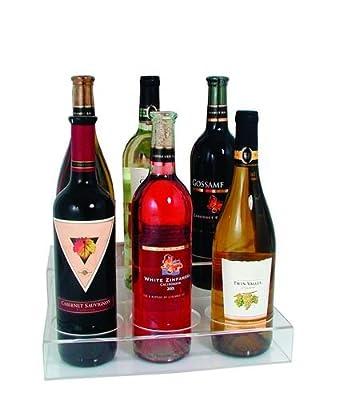 "Update International ABO-3X2 Acrylic Wine 6 Bottle Holder, 9-1/2"" L x 11-6/8"" W x 4"" H (Hole Diameter 3-1/2"")"