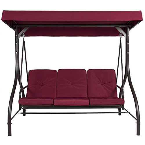 BELLEZE Outdoor UV Blocker 3 Seat Flatbed Cool Seater Canopy Swing Motion Gilder Converting Patio Rocking Chair Burgundy -  014-HG-14344-BU