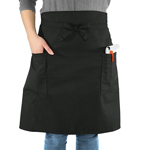 sinnlein® Vorbinder Kochschürze Küchenschürze 100% Baumwolle | mit 2 Taschen | 6 Farben wählbar - perfekt auch als Grillschürze und Backschürze (Schwarz)