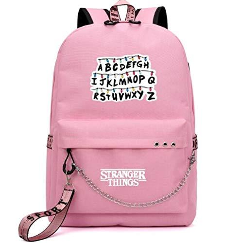 2021 Mochila Stranger Things, Mochila multifunción de Lona de Viaje con Carga USB para Estudiantes para Adolescentes, niños, niñas, Mochila Escolar