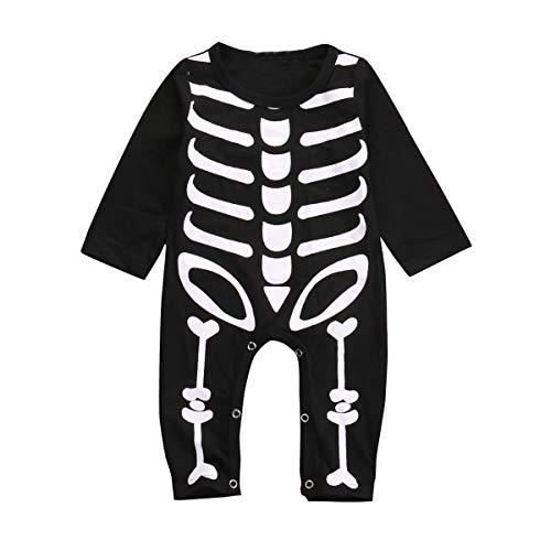 Mono para Bebé Recién Nacido Invierno Unisex Bodies Manga Larga Estampado Calavera para Fiesta de Halloween Cosplay Carnaval (Negro, 12-18 m)