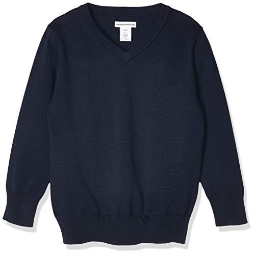 Amazon Essentials Kids Boys Uniform Cotton V-Neck Sweaters, Navy, Small