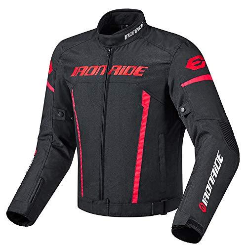 ZWPY Vestes de Moto,Hommes Automne et Hiver Costume Chaud Moto Blouson Doublure Amovible,Pantalon de Moto Respirant,Noir Rouge,Jacket,L