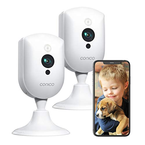 Baby Monitor with Camera and Audio,Conico 1080P Pet Camera,Dog Camera with 2 Way Audio,Motion and Sound Detection,Night Vision,WiFi Camera Indoor Camera Work with Alexa for Baby Pet(2 Packs)