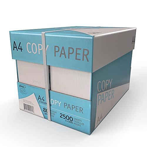 IMBALLAGGI 2000 - Box da 5 Risme A4 di Carta Bianca da 500 Fogli - Ottima per l'Utilizzo di Stampante e Fotocopie - Indispensabile in Ufficio - Grammatura 80 gr/mq