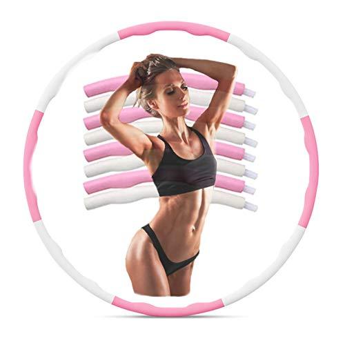 Coriver Fitness Hoola Hoop, diseño de onda de ejercicio desmontable, aro de entrenamiento para pérdida de peso, aro deportivo de ocho secciones de espuma hula anillo de gimnasia con regla de cintura