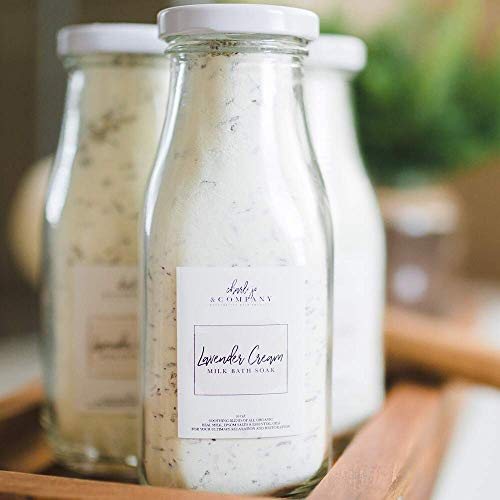Lavender Cream Bath Milk Soak. All Local Ingredients In A Glass Bottle And Made In The USA. (One Lavender Cream 10 Ounce Bottle) (Relaxing Bath Milk)