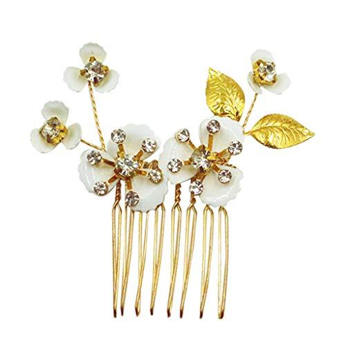 Baoblaze Peine de Pelo Nupcial Peineta de Flores y Hojas con Diamantes Artificiales Herramienta de Peinado para Mujer