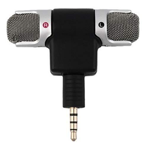 Diamoen Mini PC/Téléphone Microphone 3,5 mm stéréo Portable numérique Double Canal Mic Enregistreur Vocal sonore