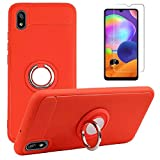 BLU V70 / BLU G60 / BLU Vivo X6 Case with Tempered Glass Screen Protector, Rotating Ring [Magnetic Car Mount] [360°Kickstand] Holder [Fashion] Soft TPU Protection Cover Case for BLU Vivo X6 (Red)