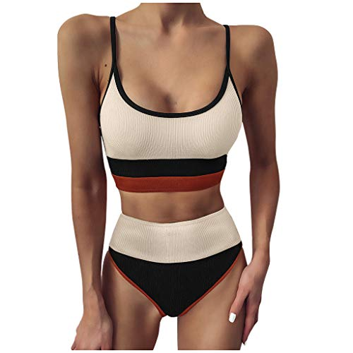 Damen Bikini Set High Waist Geteilter Bademode Zweiteiliger Badeanzug Farbblock Bikini Oberteile mit Tanga Bikinihose Triangel Swimsuit(Schwarz,M)