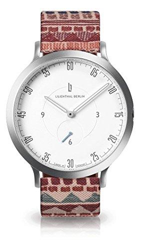 Lilienthal Berlin Uhr - Made in Germany - Designed in Berlin - Modell L1 mit Edelstahlgehäuse, Unisex, Gehäuse: Silber / Zifferblatt: Weiß / Armband: Festival, Size: 42.5 mm