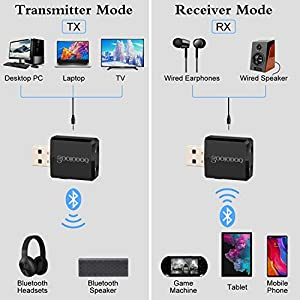 Bluetooth 5.0 Audio Transmitter Receiver, Goojodoq 3 in 1 Portable Bluetooth Adapter,Turn a Non-Bluetooth Devices Into Transmitter, Receiver, for PC TV Speaker Home/Car Stereo Sound System