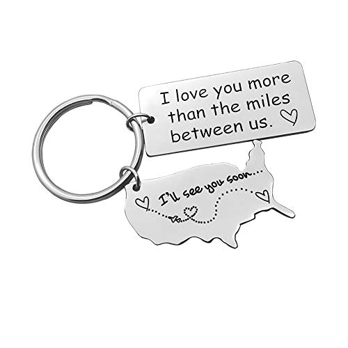 Nekoki Long Distance Relationship Gift Keychain I Love You More Than The Miles Between Us Keychain Going Away Gift Girlfriend Boyfriend Gifts Personalized Couples Jewelry Trucker Husband Dad Gifts,Sil...