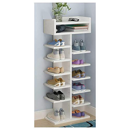 YANGYUAN Zapatero Simple Organizador de Calzado Moderno Rack Vestíbulo/Habitación/Inicio Zapatero Árbol de 7 Capas Espacio Tipo Asamblea Ahorro de Soporte del Zapato (Color Blanco)