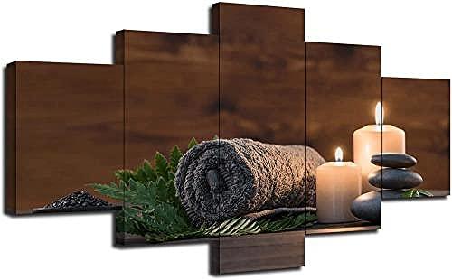 Quadro Moderno Beauty Spa Treatment Zen Pietres Candele aromatiche Stampa su Tela - Quadro x poltrone Salotto Cucina mobili Ufficio casa - Fotografica Formato XXL