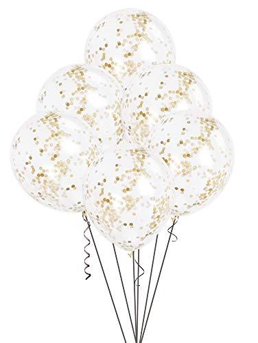 Unique Party - 49595 - Paquet de 6 Ballons Confettis - 30 cm - Or