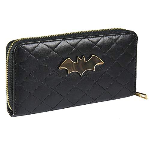 ARTESANIA CERDA Cartera Tarjetero Batman, Mujer, Negro (Negro), 3x10x19 cm (W x H x L)