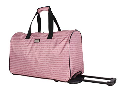 Steve Madden Luggage Suitcase Wheeled Duffle Bag (Signature Pink)