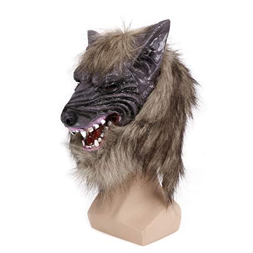 Dayuzu Halloween-decoratie, griezelige latex cosplay Halloween wolf hoofd masker dier party kostuum theater prop goede kwaliteit