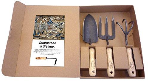Tierra Garden Dewit Outil de 3 pièces Ensemble Cadeau avec 3-Tine Cultivateur