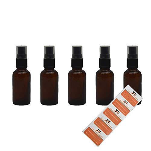 5 botellas de cristal ámbar con pulverizador de dedos, 30 ml