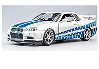 1:32 GTRのための日産の合金ダイキャストカーモデルGTR R34プルバック機能サウンドライトキッズ玩具カーコレクション子供の贈り物 車のモデルのおもちゃ (Color : 白い)