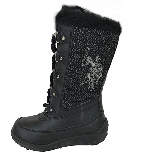 Polo Assn US Girls Quilted Lace Up Snow Boots (6 M US Toddler, Black)