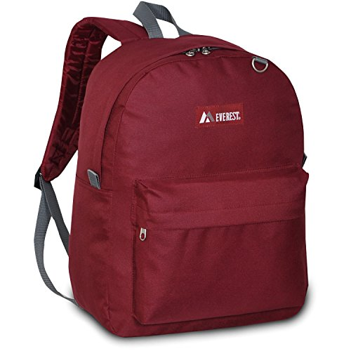Everest Classic Backpack, Burgundy, One Size