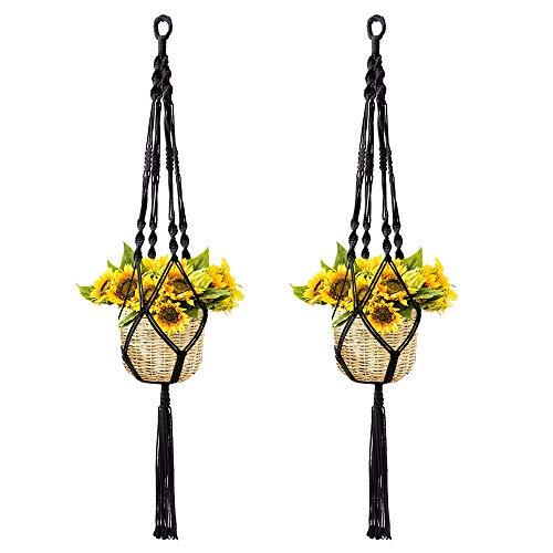 Koitoy Makramee Blumenampel Hängeampel für Innen Außen hängende Pflanzgefäße Pflanzenhänger Blumentopf Pflanzenhalter für Balkon Decke (Schwarz-2er)