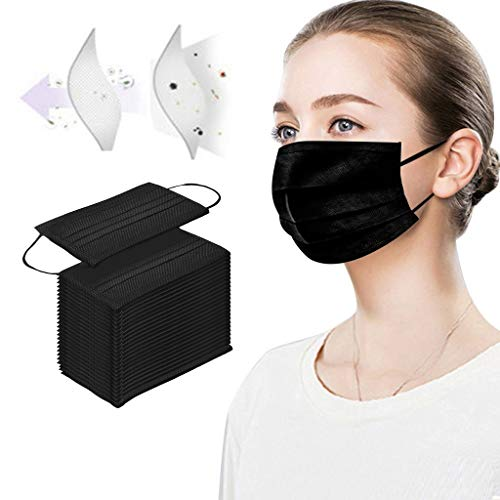 Hardcover Disposable Face Macks, 4Ply Windproof Mouth Activated Carbon Mack, Pack of 50 pcs (Black)