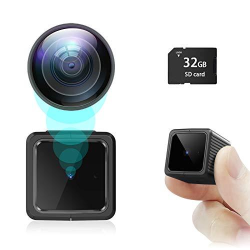 Spy Camera 1080P Hidden Camera Sevenat Mini Camera with Night Vision Nanny Cam with Motion Detection Small Camera with 32GB SD Card, Tiny Camera for Home Security & Outdoor (No Wi-Fi)