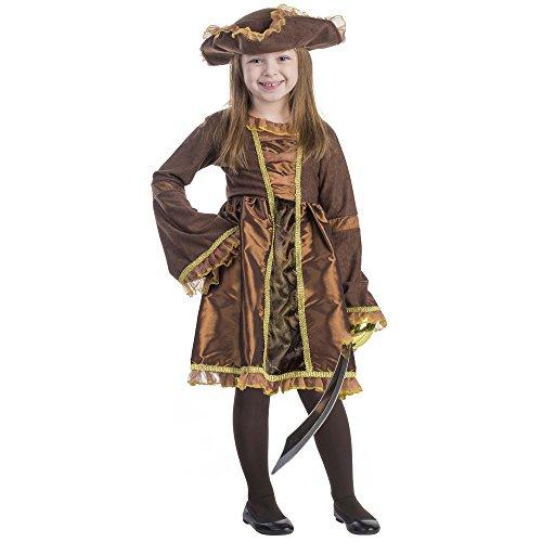 Viste a América - M-797 - Disfraces de pirata para niñas - 8-10 años - altura 123 cm - Marrón