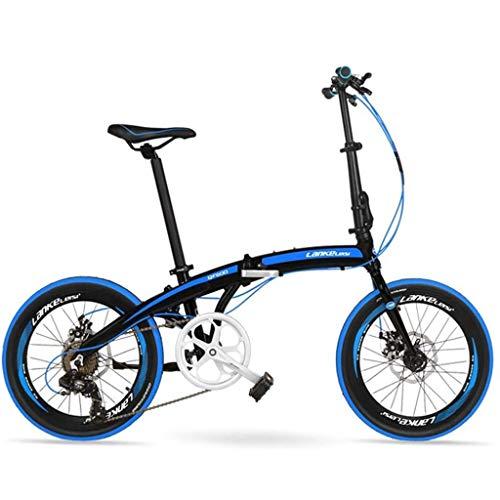 Gq2019 7 Speed Folding Mountain Bike, Adults Unisex 20' Folding Bikes, Aluminum Alloy Frame Lightweight Foldable Bicycle