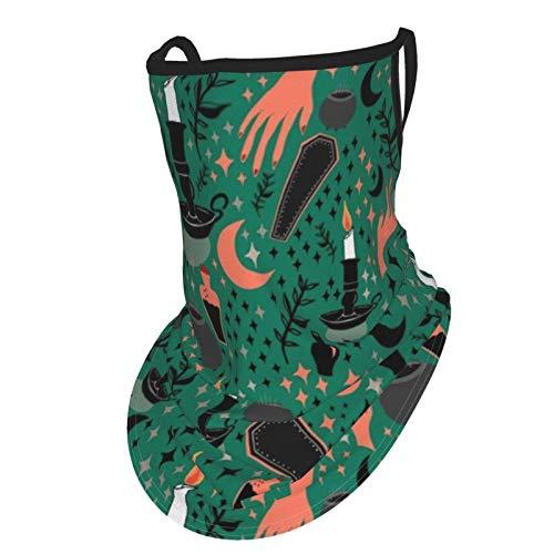 Halloween hechizo fundición fondo verde pasamontañas bandanas cuello polainas bufanda polvo viento protección solar oído perchas tubo máscara