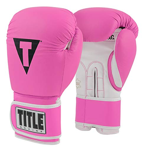 Title Boxing Pro Style Leather Training Gloves 3.0, Hot Pink/White, 12 oz