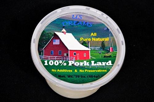 100% Pure All Natural Pork Lard 1 lb. (16 oz.) one pound