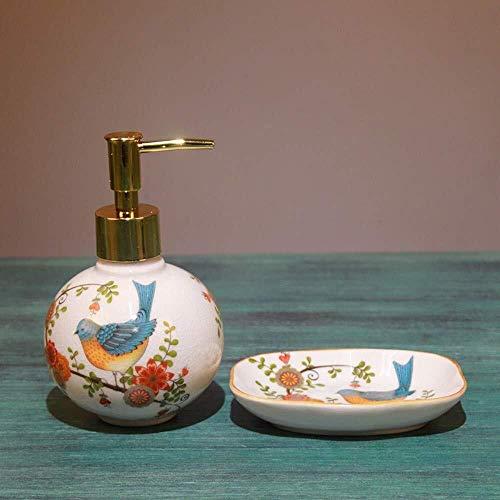 Pgs Vloeibare zeep Container, Rapid extrusie Eco Resin Keramiek Shampoo Hand Sanitizer fles, Oosterse luxe handgemaakte bloemen Vogels Refillable plein zeepdispenser, met schotel